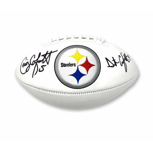 Craig and Dustin Colquitt Dual Autographed Pittsburgh Steelers White Logo Football