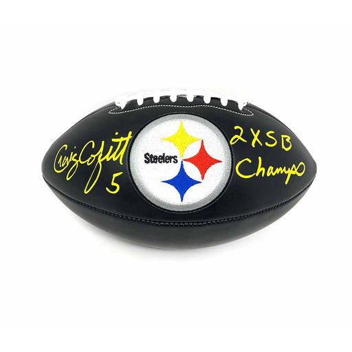 Craig Colquitt Autographed Pittsburgh Steelers Black Logo Football with 2X SB Champs