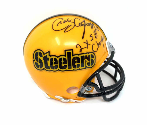 Craig Colquitt Autographed Pittsburgh Steelers Gold Mini Helmet with 2X SB Champs