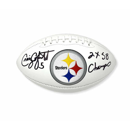 Craig Colquitt Autographed Pittsburgh Steelers White Logo Football with 2X SB Champs