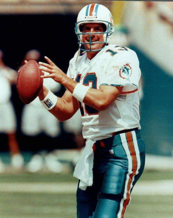 Dan Marino throwing in white Unsigned 8x10