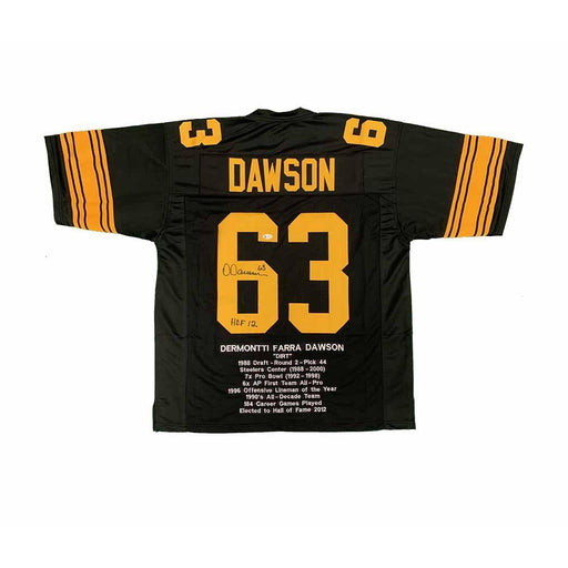 Dermontti Dawson Autographed Custom Alternate STAT Jersey Inscribed 'Hof 12'