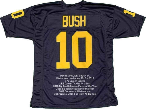 Devin Bush Signed Custom Blue College STAT Jersey