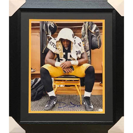 Devin Bush Signed Sitting in Locker Room Full Color 16x20 Photo - Professionally Framed