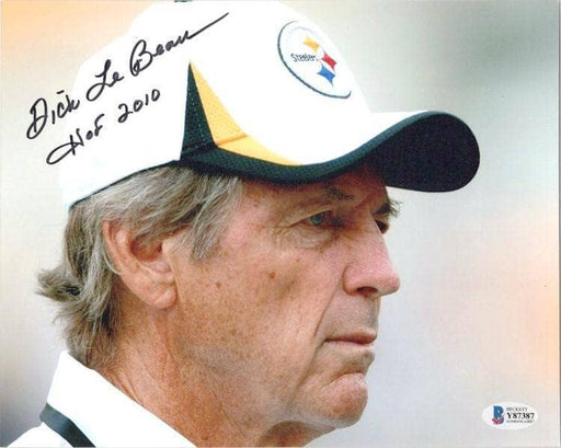 Dick Lebeau Autographed in White Baseball Hat 8X10