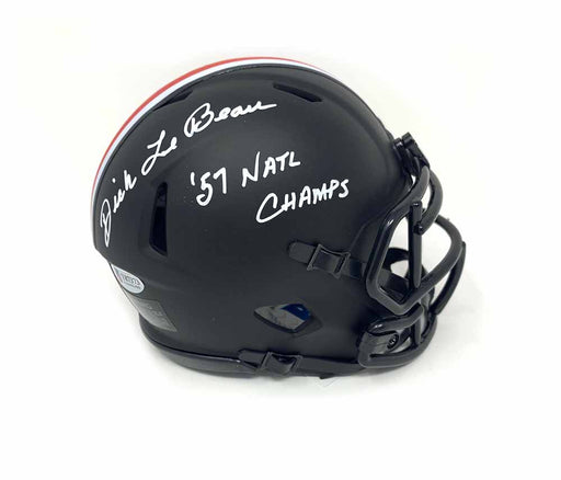 Dick Lebeau Autographed OSU Black Matte Mini Helmet Inscribed ''57 Natl Champs'