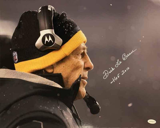 "Dick LeBeau Signed Snow 16x20 Photo inscribed ""HOF 2010"" - DAMAGED"