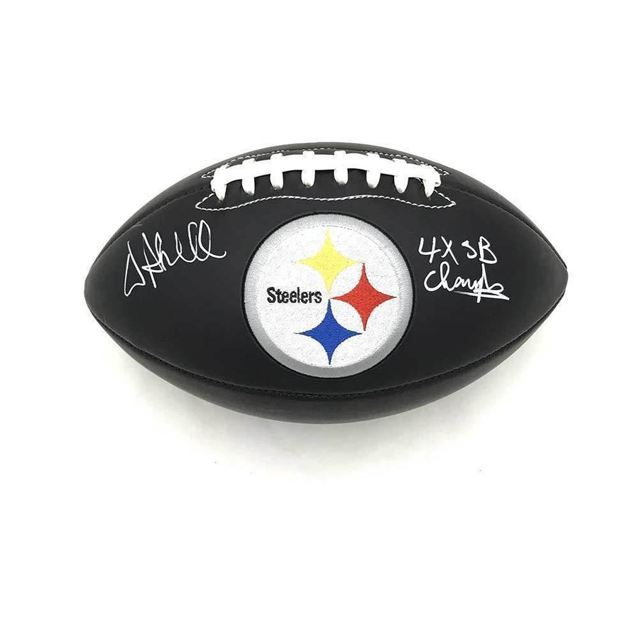 Donnie Shell Autographed Pittsburgh Steelers Black Logo Football with 4X SB Champs