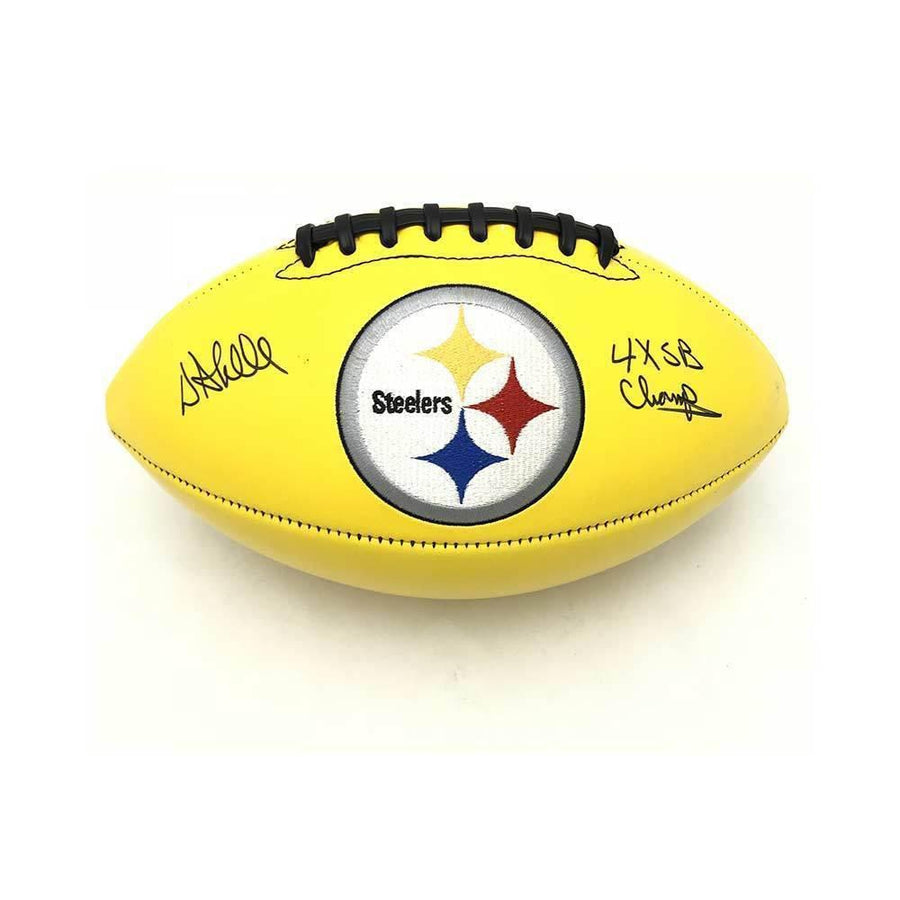 Donnie Shell Autographed Pittsburgh Steelers Gold Logo Football with 4X SB Champs