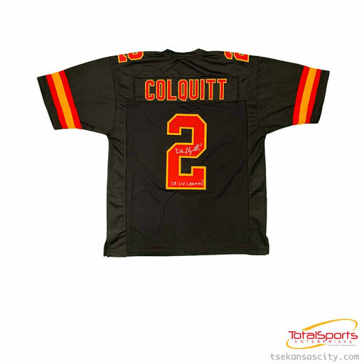Dustin Colquitt Autographed Custom Black Football Jersey with SB LIV Champs!