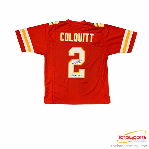 Dustin Colquitt Autographed Custom Red Football Jersey with SB LIV Champs!