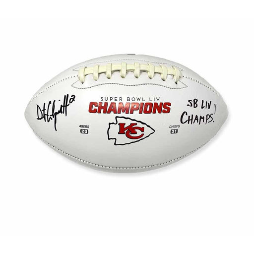 Dustin Colquitt Autographed Kansas City Chiefs White Logo Football with SB LIV Champs!