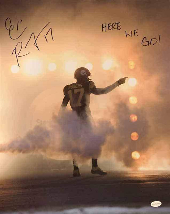 Eli Rogers Signed Pointing in Fog 16x20 Photo with Here We Go