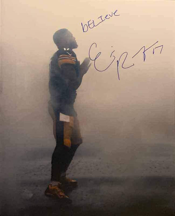 Eli Rogers Signed Praying in Fog 16x20 Photo with bELIeve