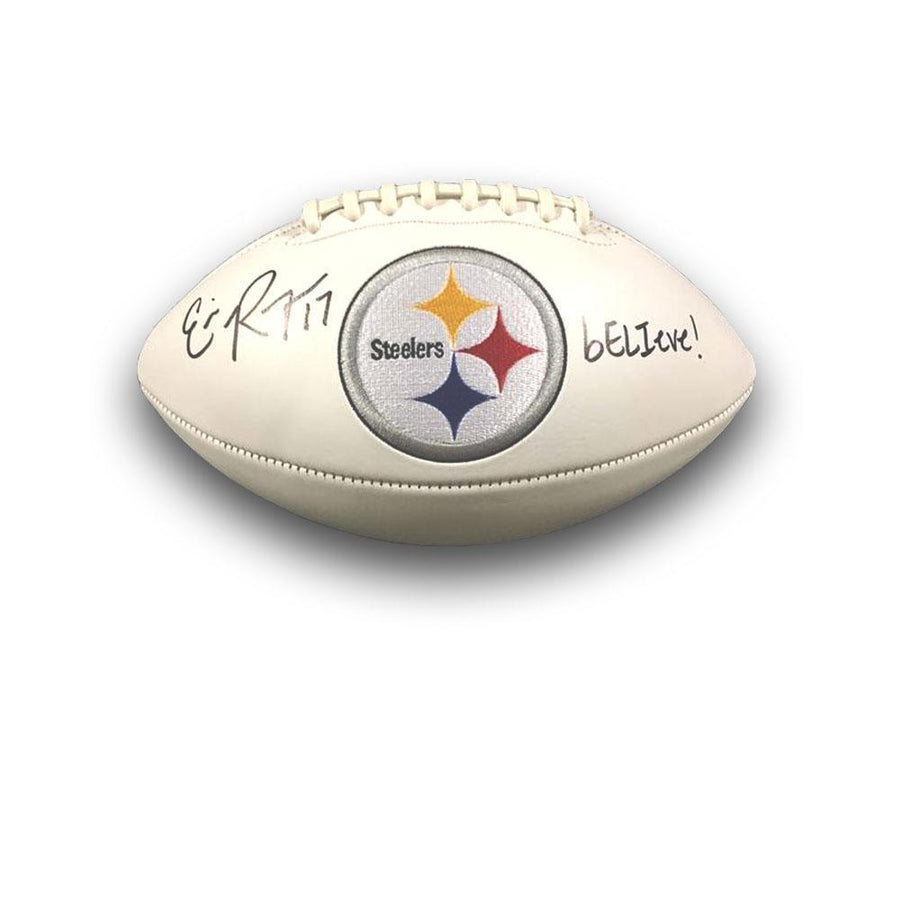 Eli Rogers Signed Steelers White Logo Football  with bELIeve