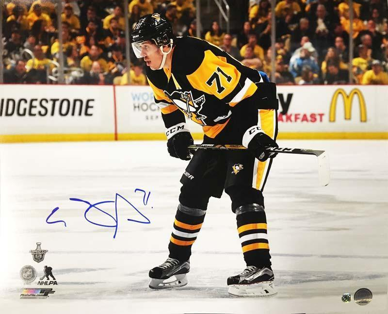 Evgeni Malkin Autographed Stick on Knees Licensed 16x20 Photo