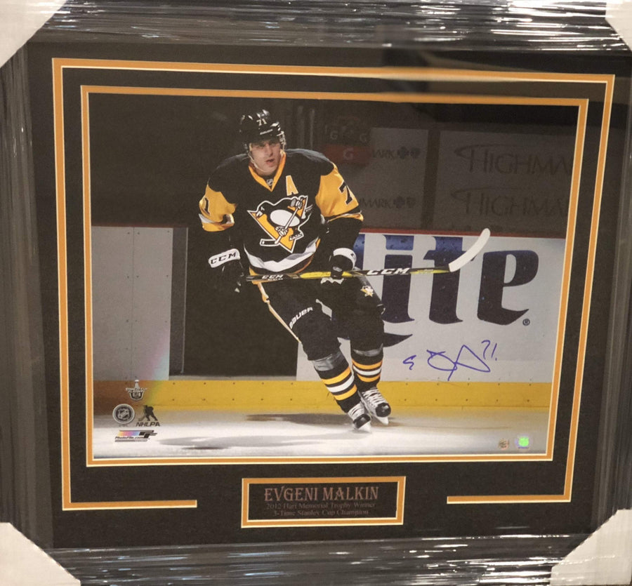 Evgeni Malkin Skating in Black Entrance Signed 16x20- Professionally Framed