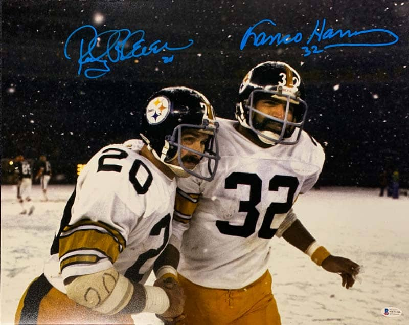Franco Harris and Rocky Bleier Signed Snow on Field 16x20 Photo (Blue Ink)