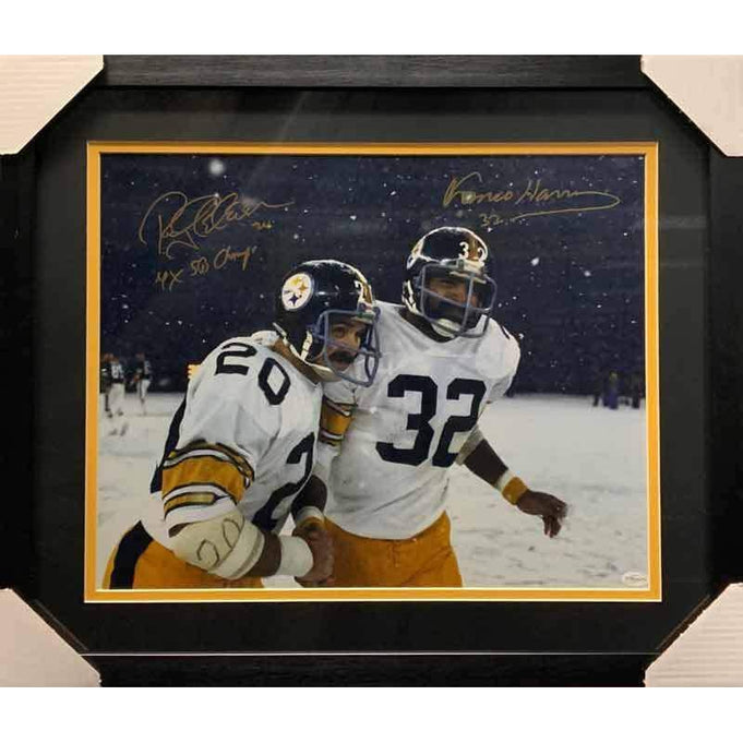 Franco Harris and Rocky Bleier Signed Snow on Field Framed 16x20 Photo