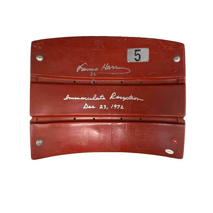 Franco Harris Autographed Authentic 3 Rivers Seatback with Immaculate Reception Inscription