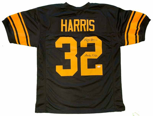 Franco Harris Autographed Black Anniversary Custom Jersey with Steeler 4 Life - DAMAGED