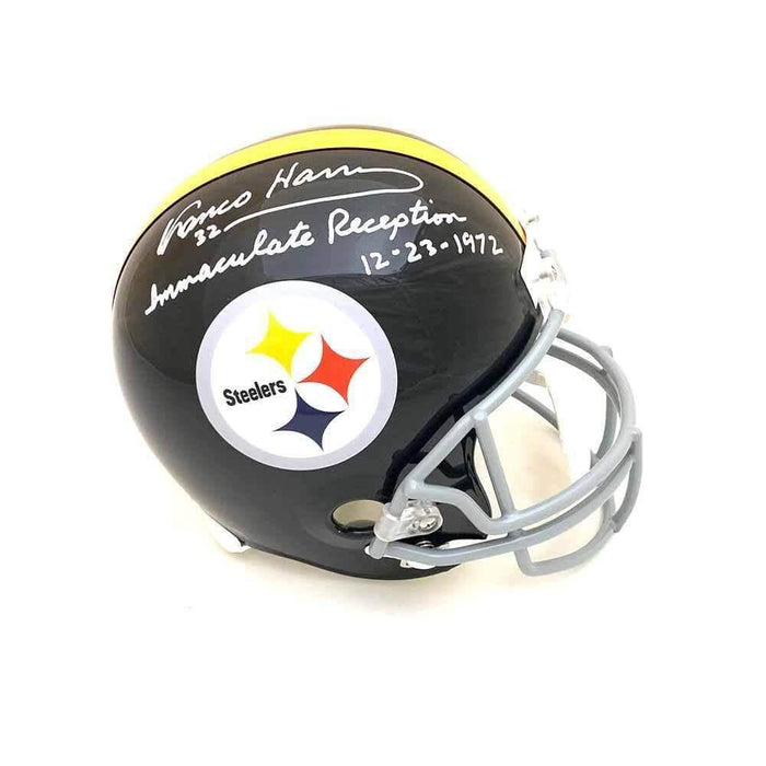 Franco Harris Autographed Black Replica Throwback Helmet with 'Immaculate Reception 12-23-72'