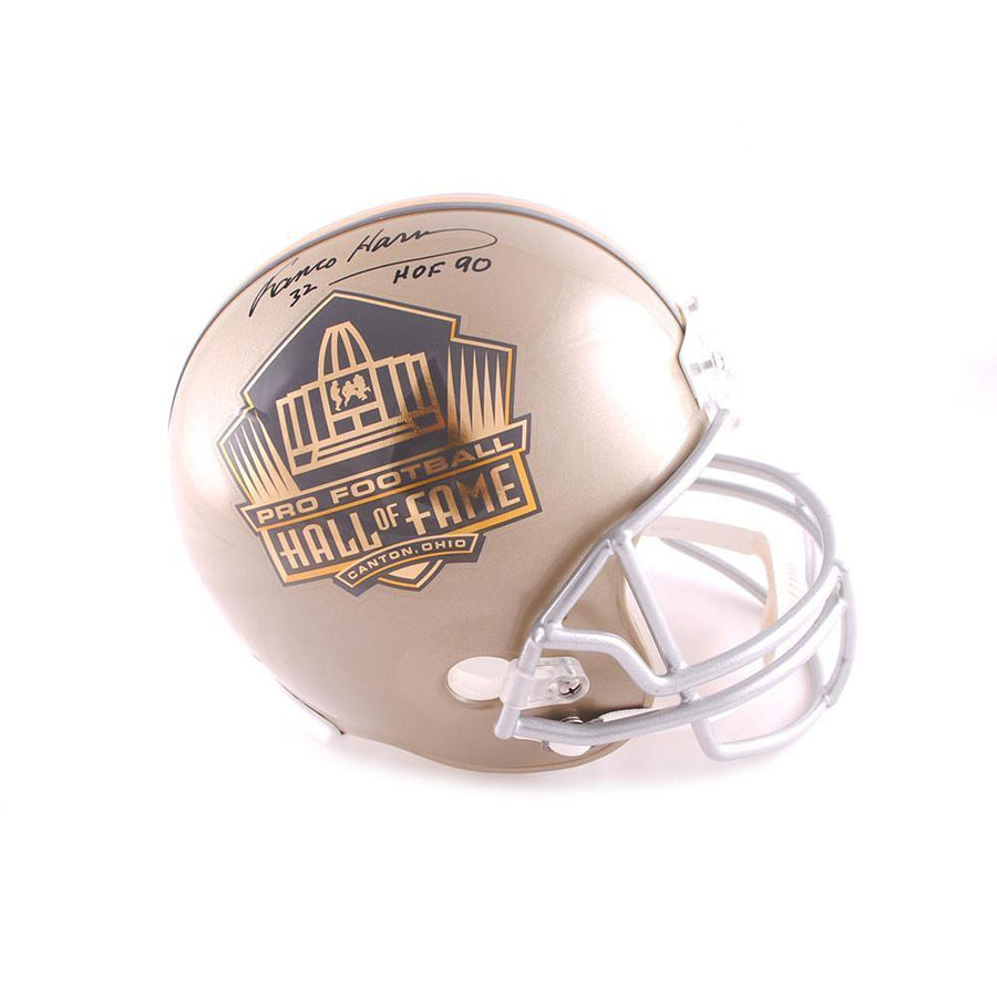Franco Harris Autographed Hall of Fame Gold Replica Helmet with HOF 90