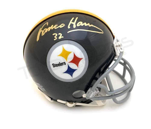 Franco Harris Autographed Pittsburgh Steelers Black Throwback Mini Helmet - DAMAGED #2