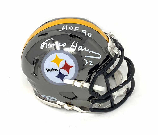 Franco Harris Autographed Pittsburgh Steelers Chrome Mini Helmet with HOF 90 - DAMAGED