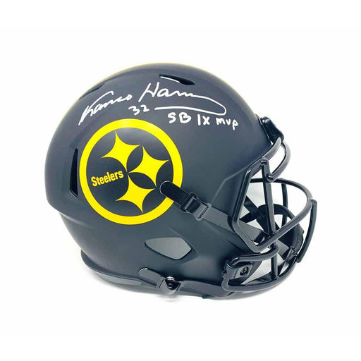 Franco Harris Autographed Pittsburgh Steelers Replica Eclipse Full Size Helmet with 'SB IX MVP' - DAMAGED