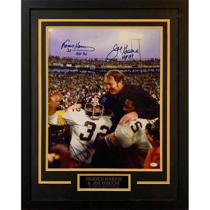 96c02d8cae8 Franco Harris Celebrating Win with Joe Green Dual Signed with HOF  Inscriptions 16x20- Professionally Framed