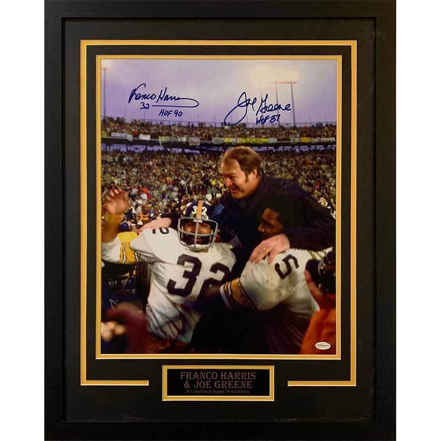 9930107f4 Franco Harris Celebrating Win with Joe Green Dual Signed with HOF  Inscriptions 16x20- Professionally Framed