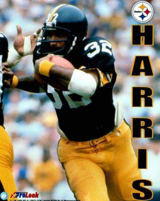 Franco Harris in Black with Football (Vertical Harris Wording) Unsigned Licensed 8x10 Photo