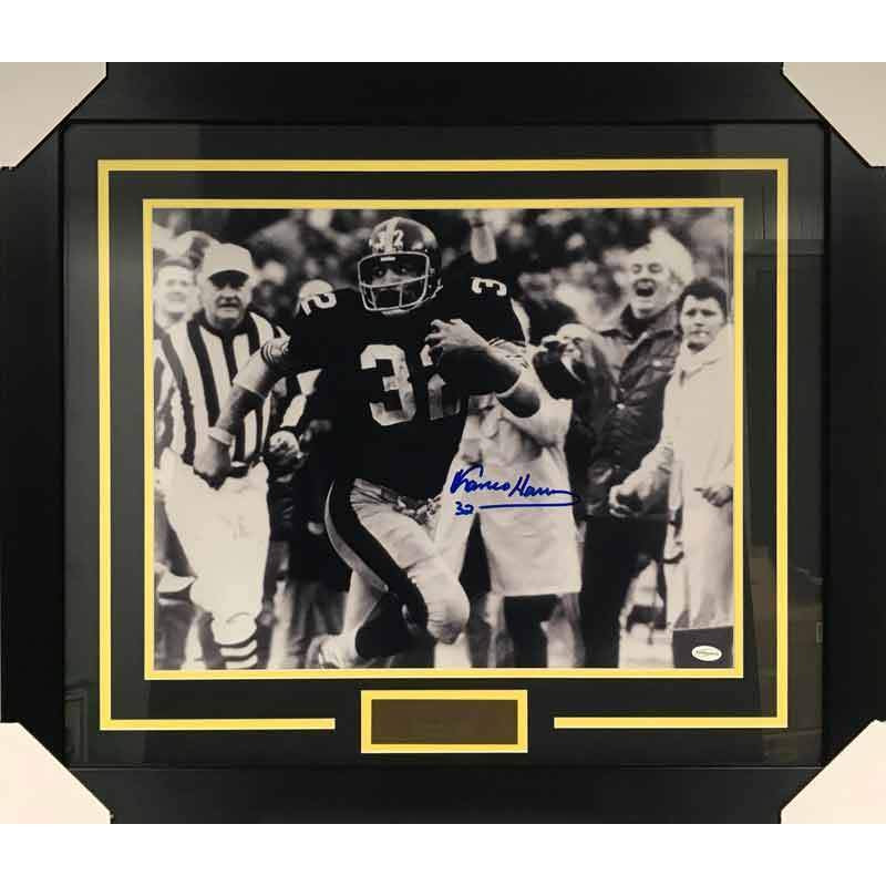 Franco Harris Signed Immaculate Reception Front View 16x20 Black and White Photo - Professionally Framed