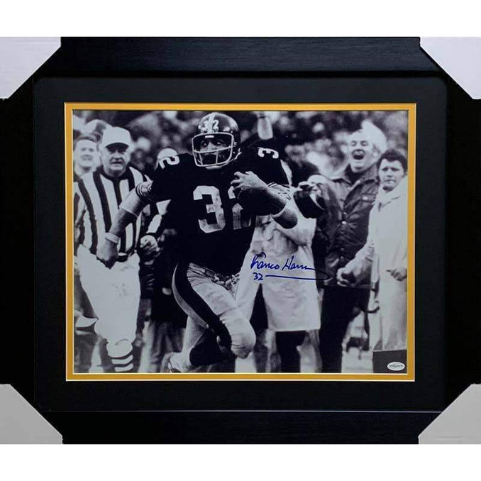 Franco Harris Signed Immaculate Reception Front View 16x20 Black and White Photo - Professionally Framed (No Nameplate)