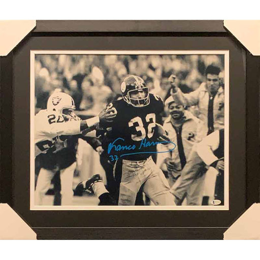 Franco Harris Signed Immaculate Reception Stiff Arm 16x20 Black And White Photo - Professionally Framed (No Nameplate)