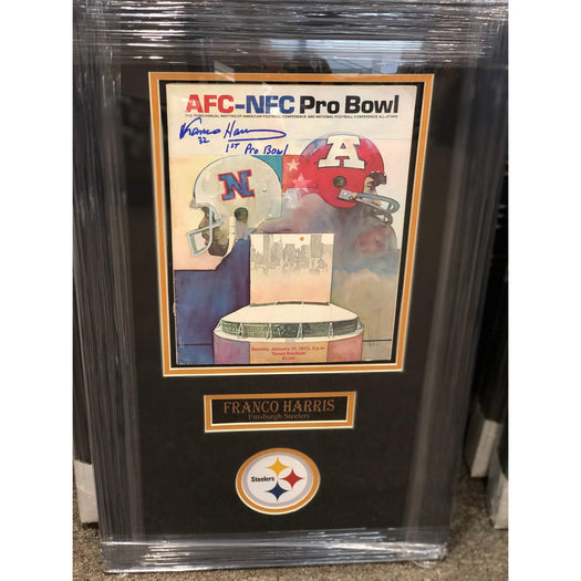 "Franco Harris Signed Pro Bowl Program with ""1st Pro Bowl"" - Professionally Framed"