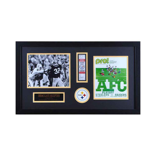 Franco Harris Unsigned Immaculate Reception Horizontal Display w/REPLICA TICKET and 8x10 Photo of Authentic  Program Cover - Professionally Framed