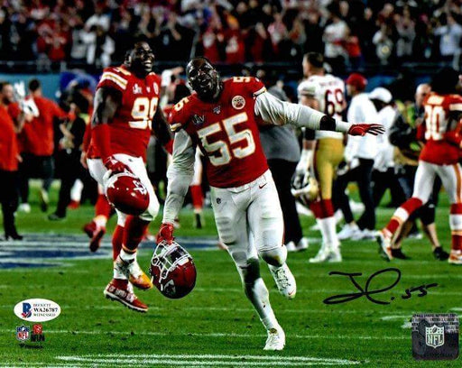 Frank Clark Signed Running with Helmet Off 8x10 Photo