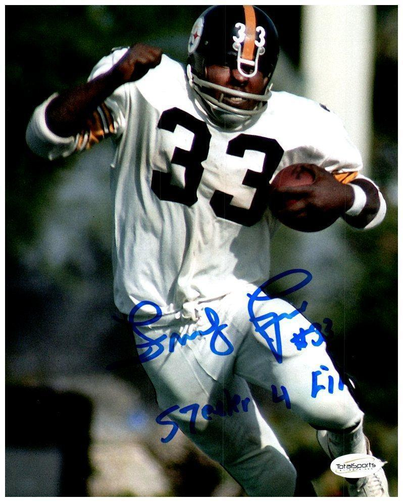 "Frenchy Fuqua Signed In White with Ball 8x10 Photo with ""Steeler 4 Life"""