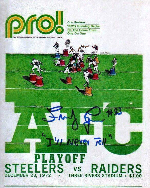 "Frenchy Fuqua Signed Steelers Vs. Raiders 1972 AFC Program Reproduction 8x10 Photo with ""I'll Never Tell"""