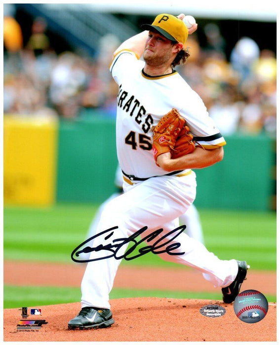 Gerrit Cole Autographed Pitching in White Uniform Lic. 8x10