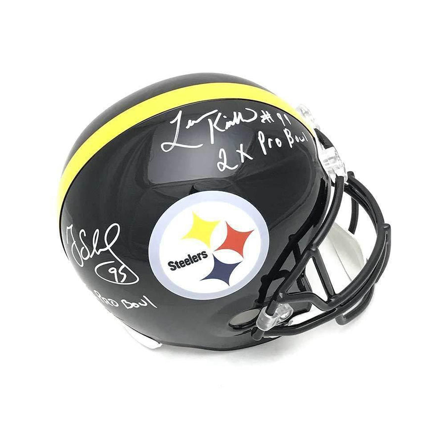 Greg Lloyd and Levon Kirkland Autographed Black Pittsburgh Steelers Full Sized Helmet with Dual Inscriptions