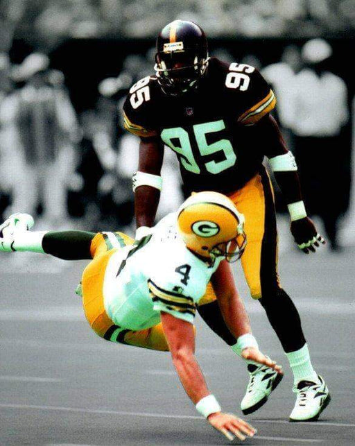 Greg Lloyd Hitting Favre Spotlight Unsigned 8x10 Photo