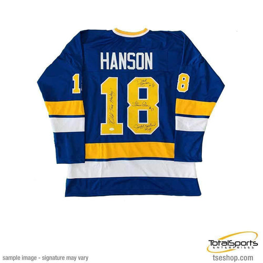 Hanson Brothers Autographed Custom Blue/Gold Hockey Jersey