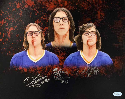 Hanson Brothers Autographed Custom Red Explosion 16x20 Photo - DAMAGED (#2)