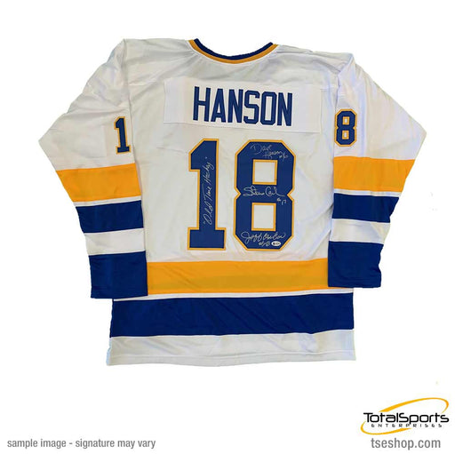 Hanson Brothers Autographed Custom White Hockey Jersey with Old Time Hockey