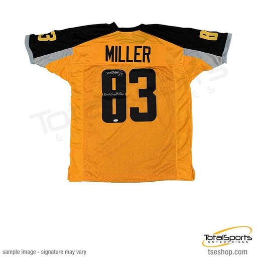 "Heath Miller Autographed Gotham Rogue's Custom Jersey inscribed ""Dark Knight Rises"""