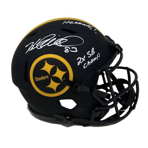 Heath Miller Autographed Pittsburgh Steelers ECLIPSE Full Size Replica Helmet with Heeeath! and 2X SB Champs