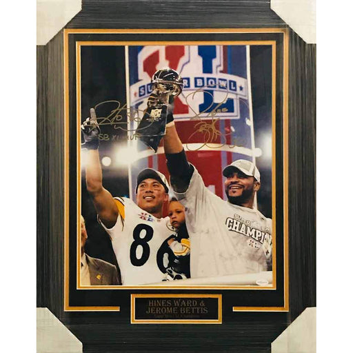 Hines Ward and Jerome Bettis Dual Signed 16x20 SB XL Photo - Professionally Framed